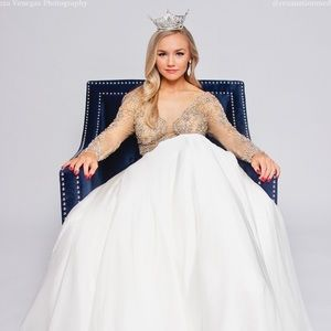Jovani White Couture Ball Gown
